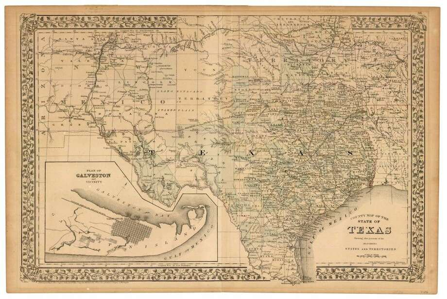 County Map of the State of Texas, 1873 by W. H. Gamble. Donated in 2014 by Martha McCabe, in memory and in honor of her mother Mary Lee Borden McCabe (1907-1993), great-grandniece of first Land Commissioner John P. Borden. (GLO Map #93696)