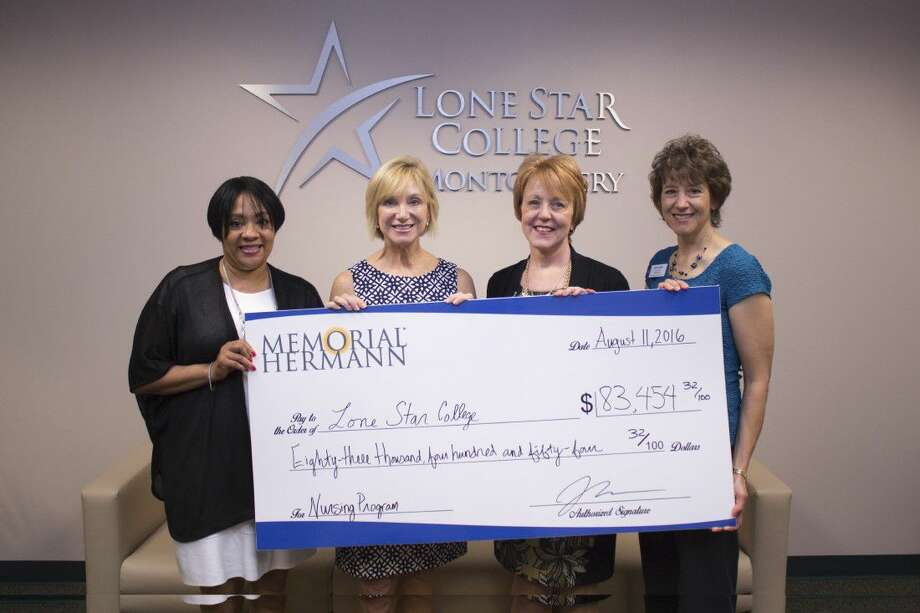 Memorial Hermann The Woodlands Hospital recently presented a check to the Lone Star College-Montgomery nursing program to fund a faculty position to help meet the critical need for nurses in the community. Pictured from left to right are Dr. De'Reese Reid Hart, dean of the natural sciences and health professions division at LSC-Montgomery; Catherine Giegerich, chief nursing officer, Memorial Hermann The Woodlands; Dr. Rebecca Riley, president of LSC-Montgomery; and Julie Kendall, director of nursing, LSC-Montgomery.