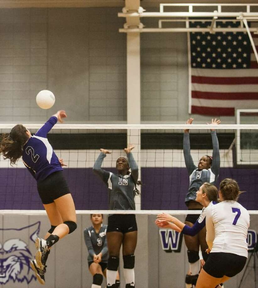 Dayton's Ravin Wilson (2) hits a spike for a winner in the first set against Humble. Dayton defeated Humble in 4 sets on Oct. 15, 2013.