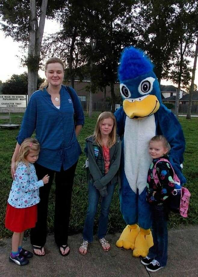 Cool Jay, the Oyster Creek Elementary mascot, is shown with parent Lanell Fruge and her daughters (from left) Devin, Faith and Rilea.