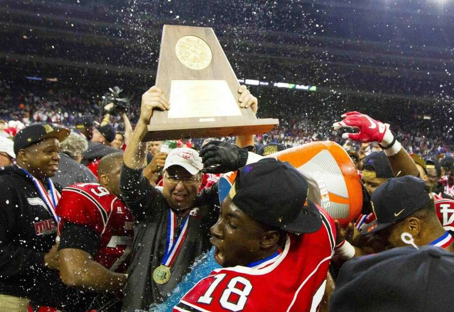 Galena Park North Shore celebrates after defeating Westlake in overtime 21-14 to win the UIL 6A Division I state championship Saturday, Dec. 19, 2015, at NRG Stadium in Houston, Texas. Photo: Jason Fochtman