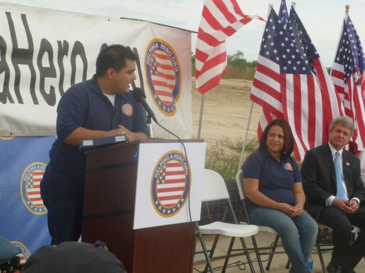 Cpl Raul Olivares thanks Helping a Hero during a groundbreaking ceremony on his new home.