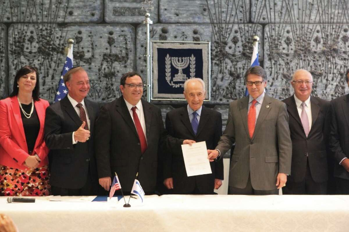 Gov. Rick Perry, second from right, on Wednesday announced the creation of the international branch of Texas A&M University at Nazareth - Peace Campus. Gov. Perry made the announcement with the President of Israel, Shimon Peres. The Nazareth campus will be the System's second branch campus in the Middle East.
