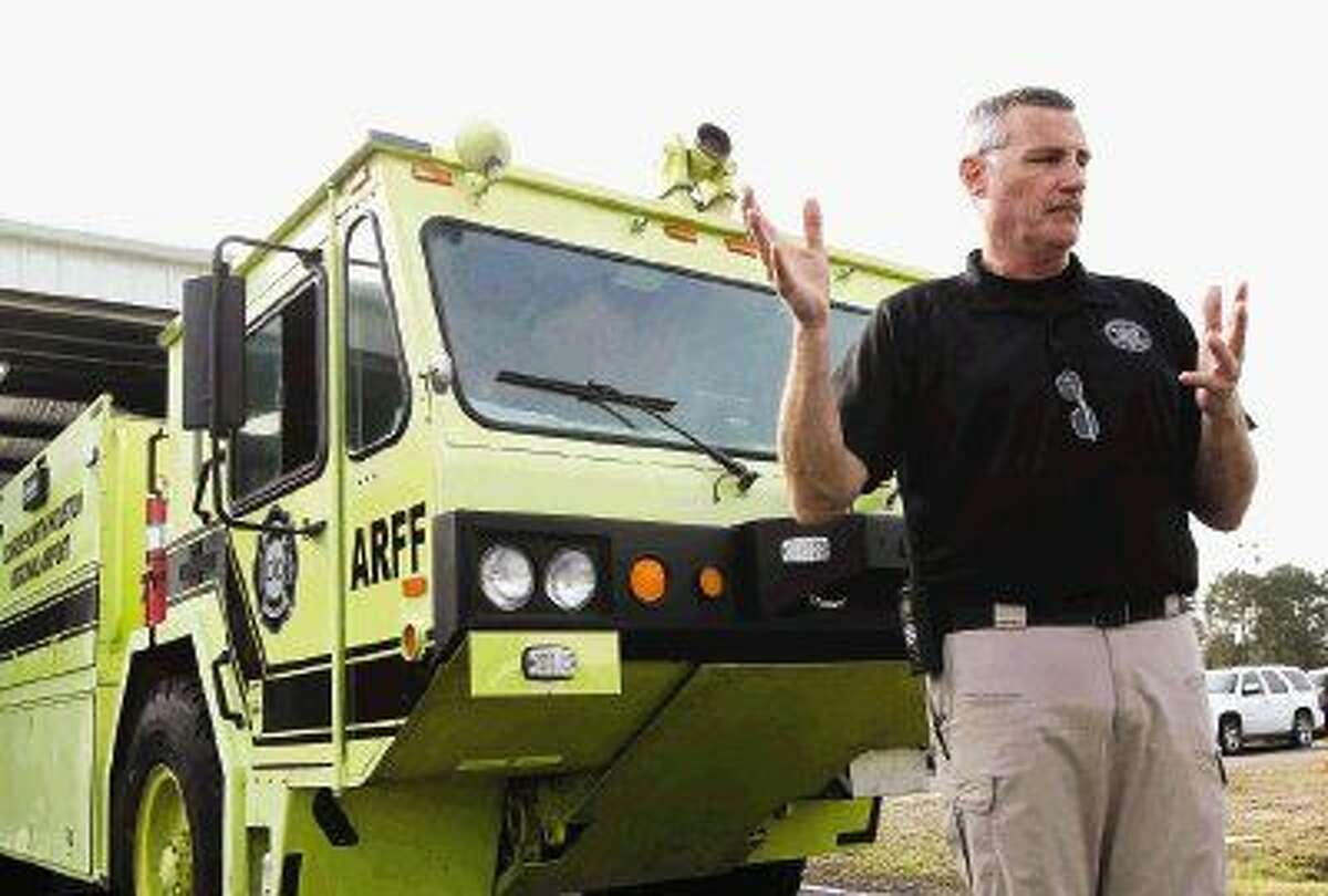 Montgomery County Fire Marshal Jimmy Williams presents his office's aircraft rescue and firefighting (ARFF) apparatus located at Conroe/North Houston Regional Airport on Dec. 10.