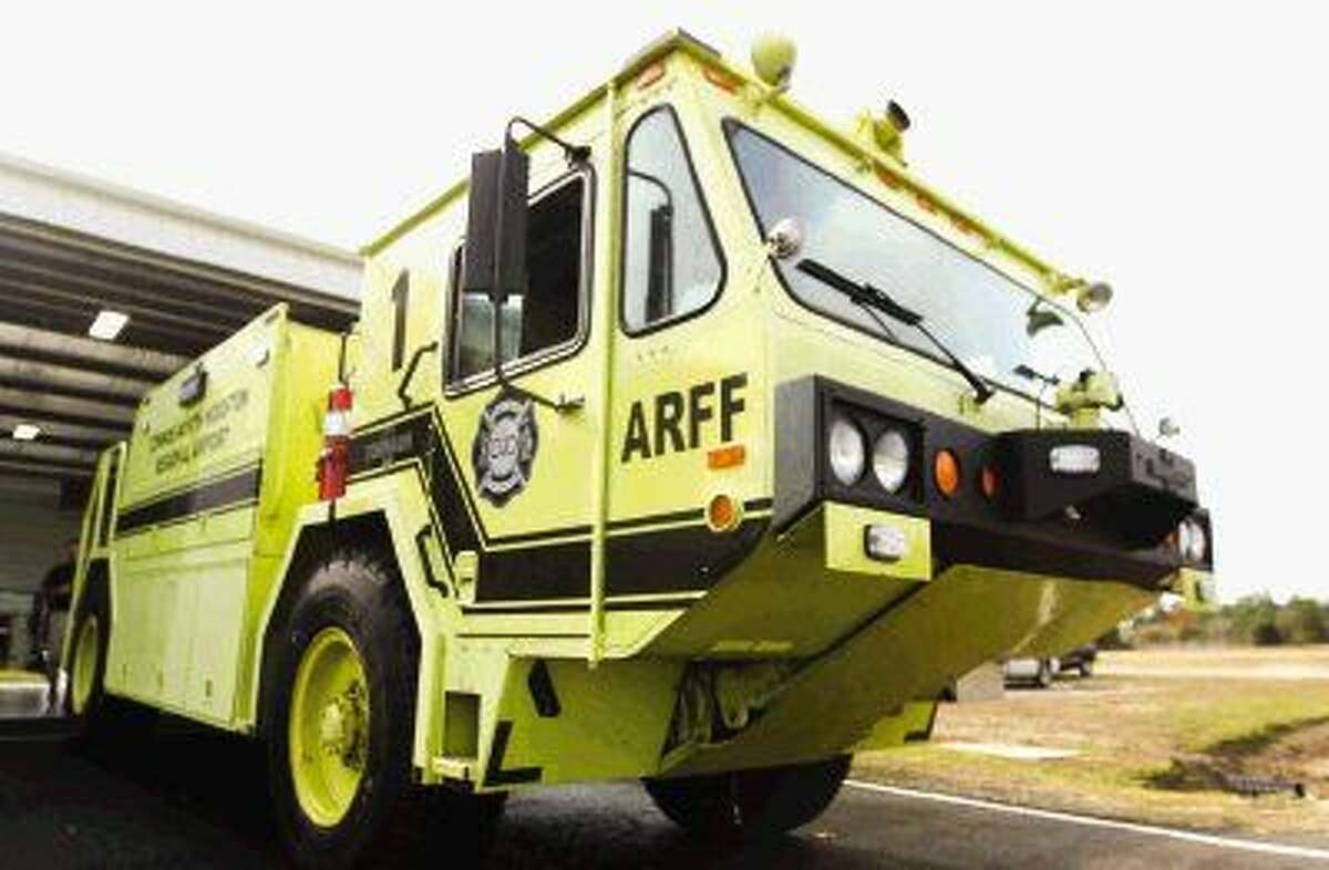 An aircraft rescue and firefighting (ARFF) apparatus sits on location at Conroe/North Houston Regional Airport on Dec. 10.