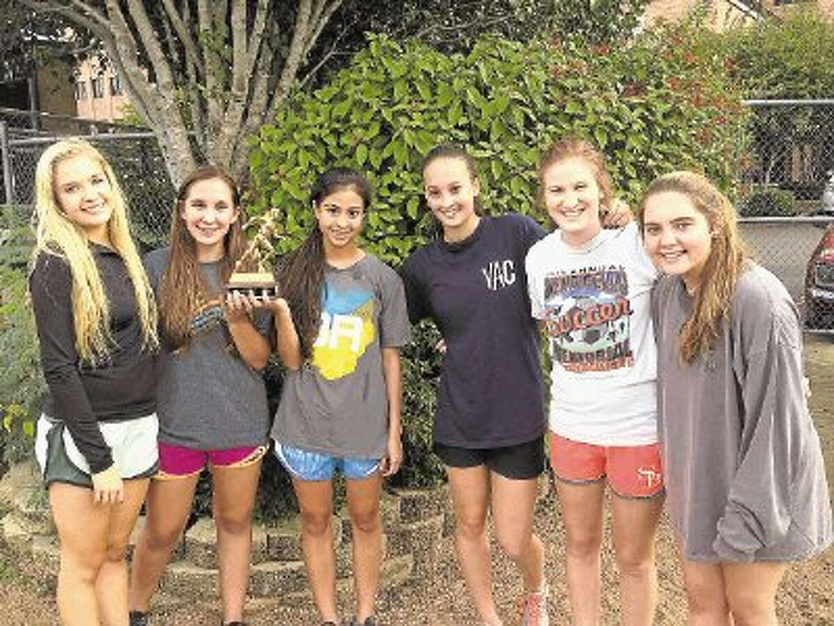 The Second Baptist girls cross country team qualified for this week's TAPPS 4A state meet in Alm Mott, Texas by winning the District 4-4A championship last week in Webster. The girls, from the left, are Nikki Heller, Megan Sanders, Gabi Amaya, Jasmine Wade, Andi Perkins, and Grace Mackenzie. Margaret Hofmann and Esther Yeboah are not pictured. Head coach Roxanne Worley said the team is excited about running at state and she is hoping they will turn in their fastest times of the year.