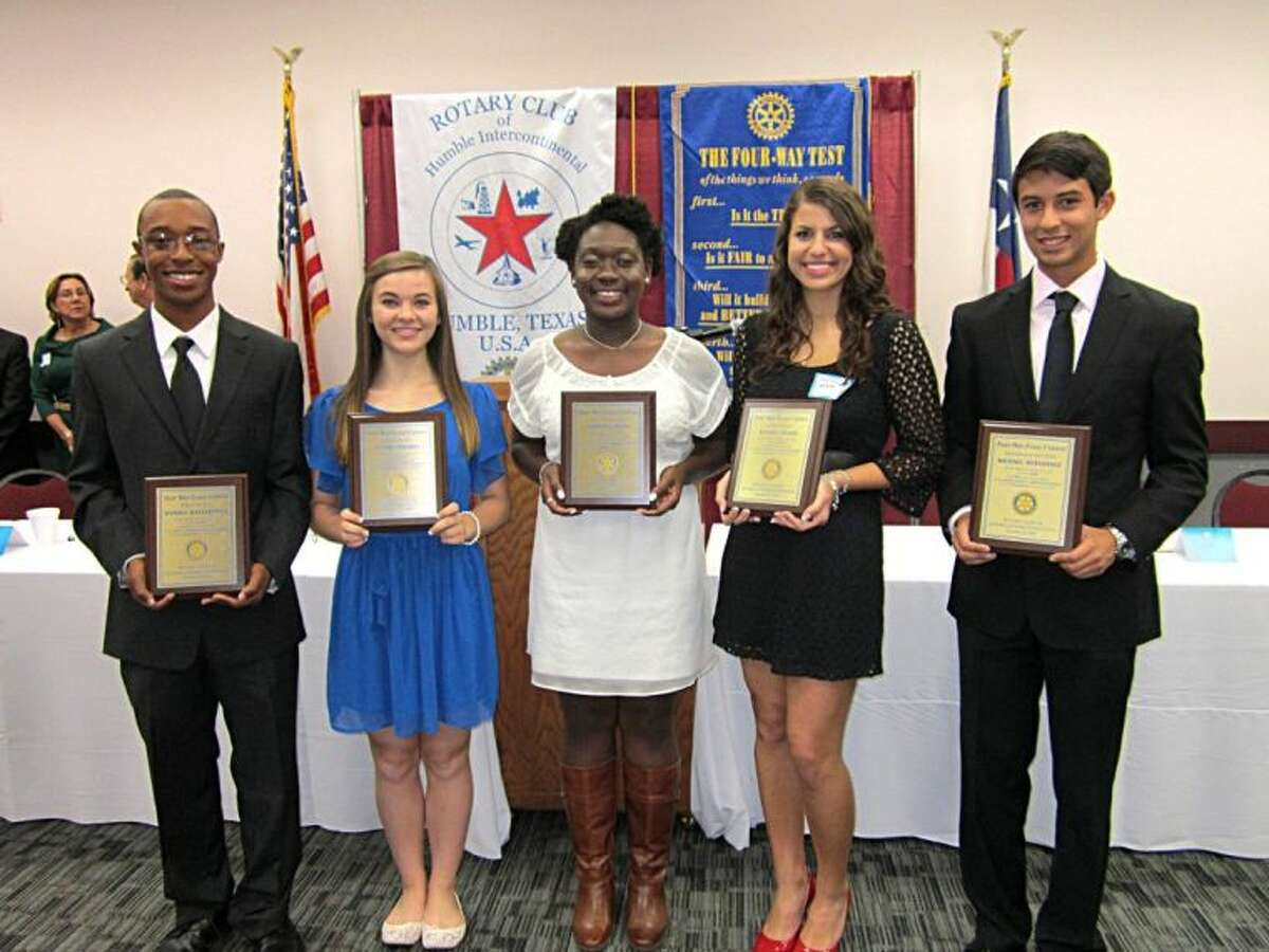The prize winning students of the annual Humble Rotary Essay contest were: ?First Place-Warren Dangerfield, Summer Creek High School, $1000; ?Second Place-Christine Olali, Summer Creek High School, $750; Two students tied for Third Place-Peyton Donnell, Summer Creek High School and Payton Attard, Summer Creek High School, both $500 respectively and ?Honorable Mention-Michael Hernandez, Summer Creek High School, $250.