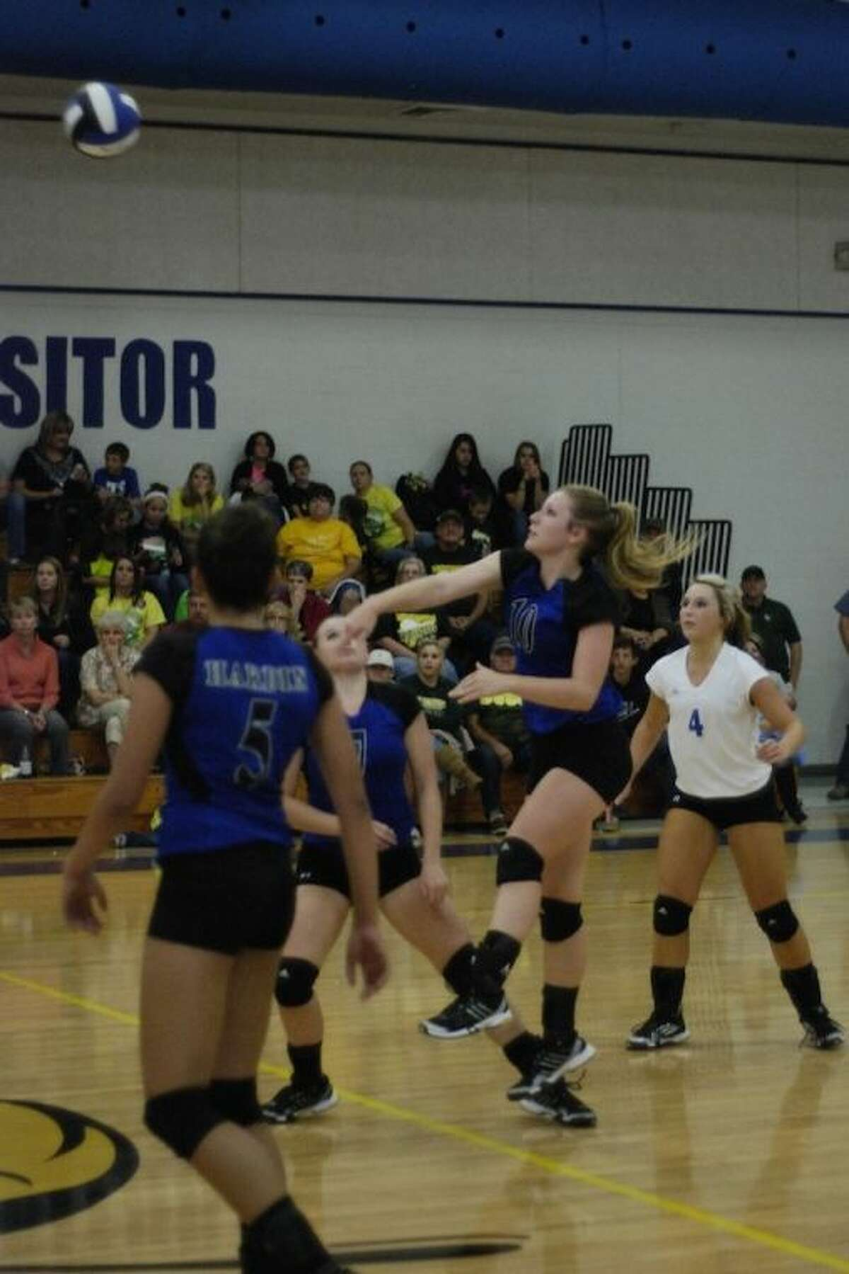 Lady Hornet Gracie Price (10) attacks in the Oct. 22 game against East Chambers.