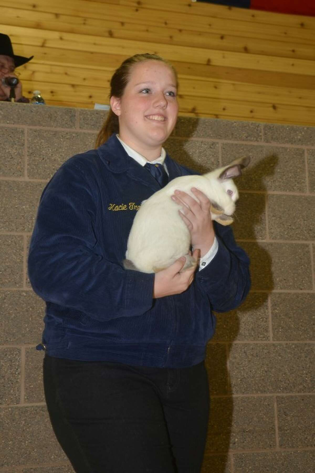 Cypress Woods student Kacie Treichel won the Reserve Champion Rabbit, which sold for $7,500 to Sen. Dan Patrick.