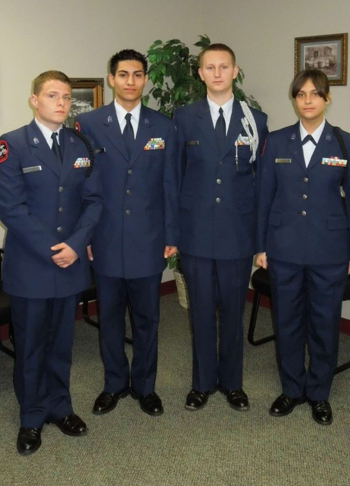 The new AFJROTC officers are, from left, Mark Morgan, Adam Moreno, Joshua Baxley and Darla Young.