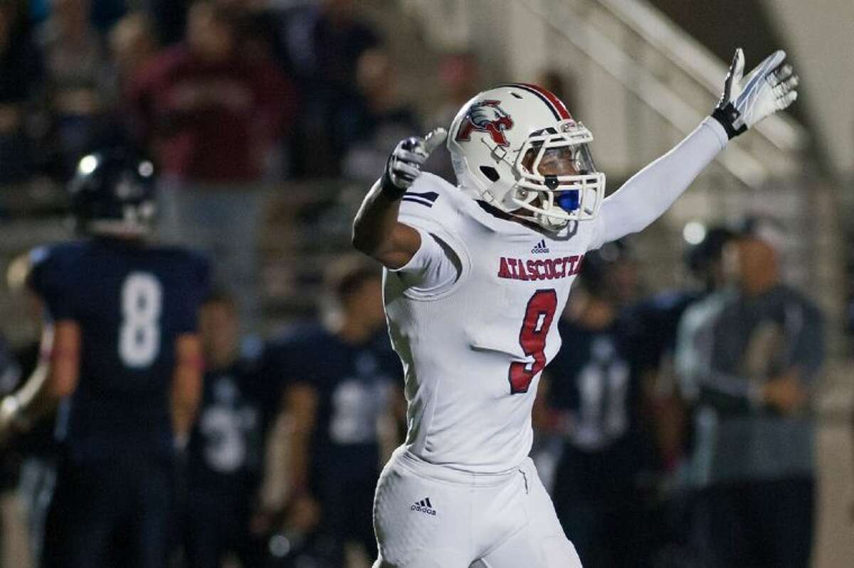 Atascocita's Ramsey Thunder celebrates after making a stop against Kingwood in the fourth quarter. Atascocita defeated Kingwood 31-17 at Turner Stadium on Friday.