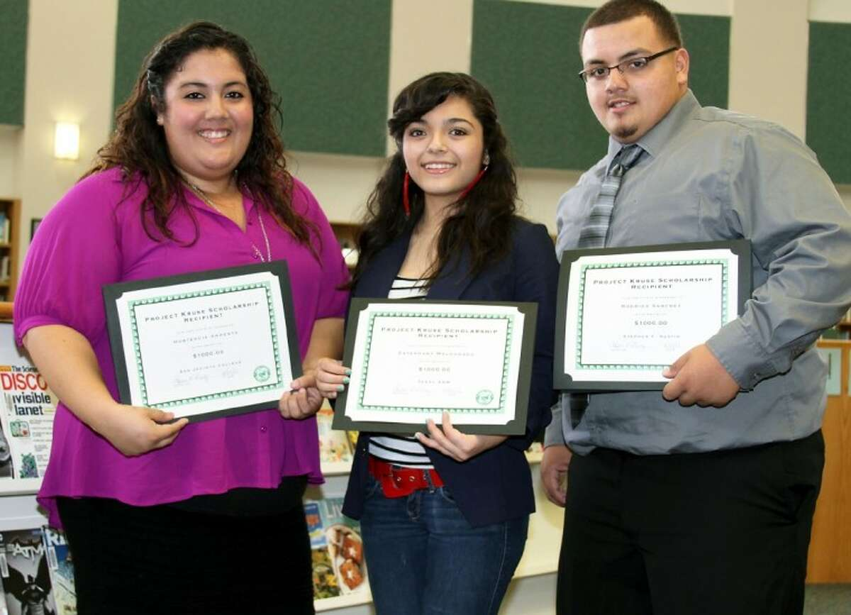 Scholarship recipients Hortencia Armenta, Estefany Maldonado and Rodrigo Sanchez.
