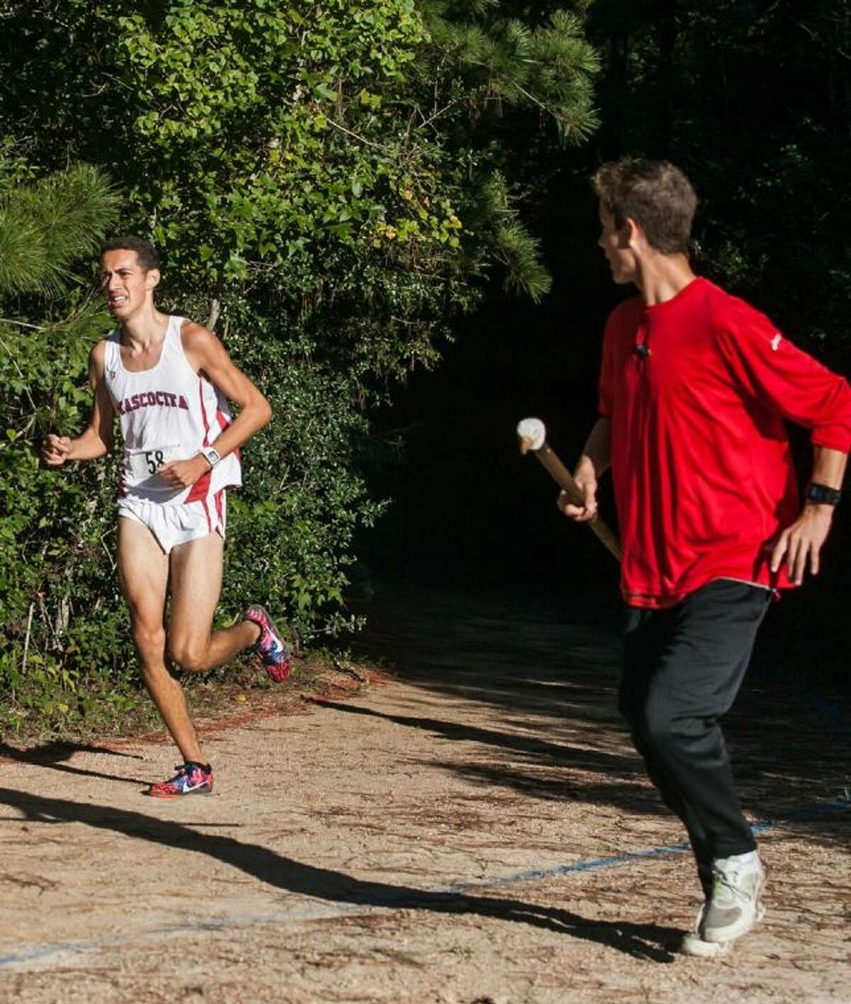 Atascocita's Andres Ezpinosa finished first with a time of 16 minutes, 7.53 seconds at the District 13-5A cross country meet at Atascocita High School on Wednesday.