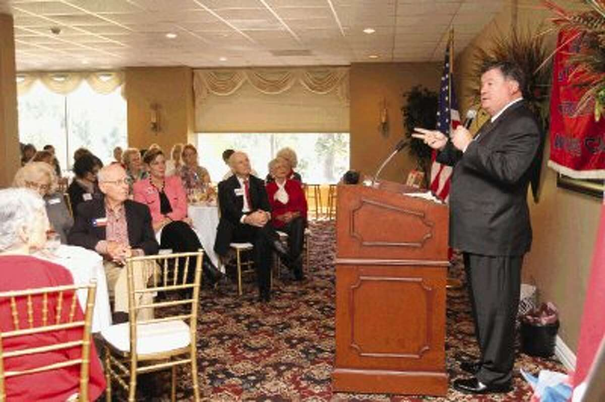 Texas Sen. Tommy Williams, R-The Woodlands, speaks at a Montgomery County Republican Women's luncheon at the River Plantation Country Club Thursday.