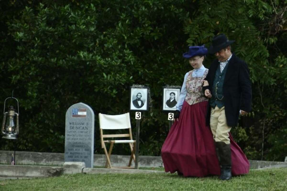 Darlene Mott and Don Smart portrayed Capt. William B. Duncan and Celima DeBlanc Duncan in the Liberty County Historical Commission's tour of the Liberty City Cemetery.