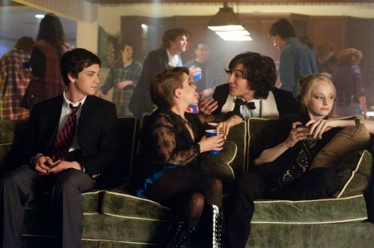 Logan Lerman, Mae Whitman, Ezra Miller and Erin Wilhelmi in Summit Entertainment's The Perks of Being a Wallflower.