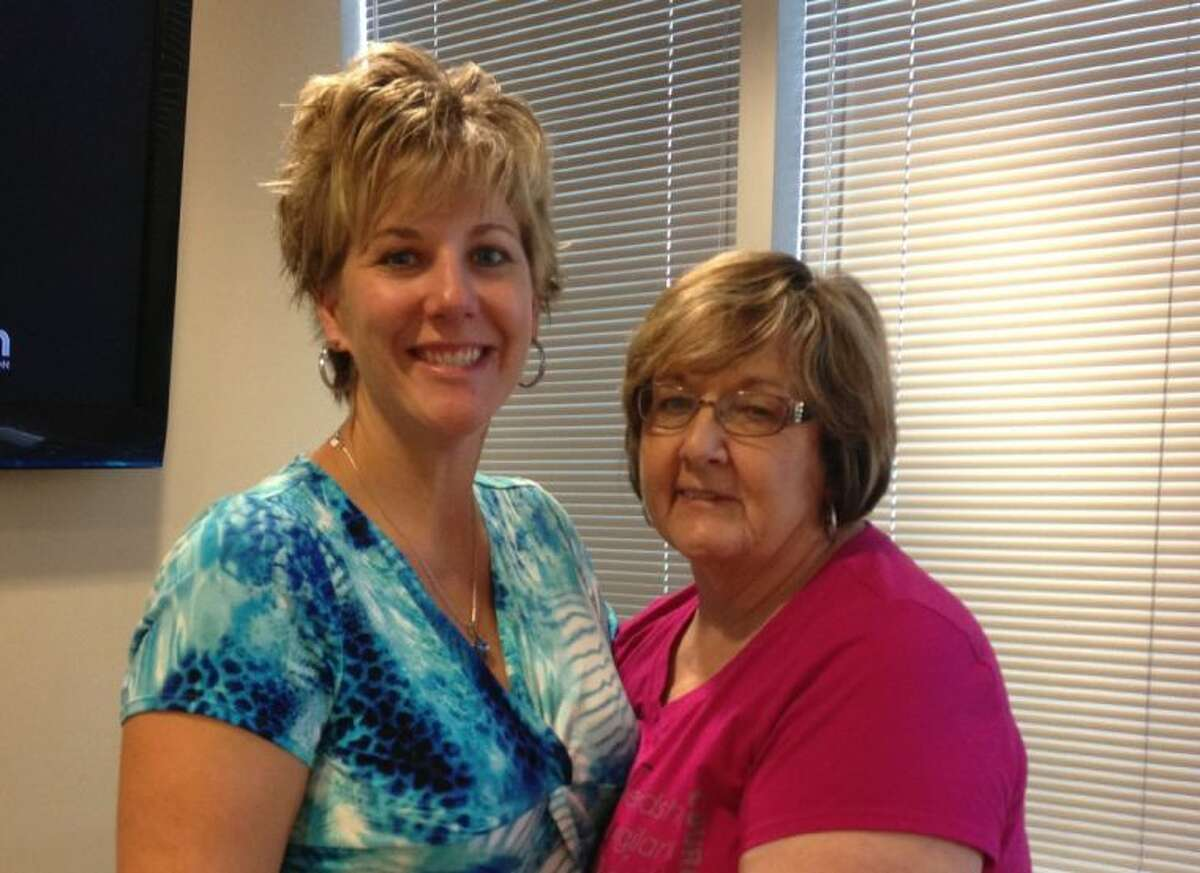 TOPS Comprehensive Breast Center Imaging Director Andra Tidwell with her mom, Lee Ann Koblitz, who found out she had breast cancer through the 3-D mammogram offered by TOPS.