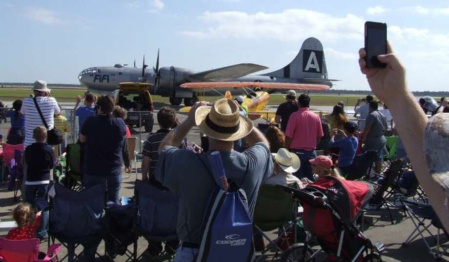 """""""FIFI,"""" the only flying B-29 remaining, is the """"queen"""" of the Commemorative Air Force's fleet. She was appropriately honored during Wings Over Houston at Ellington Airport October 26. Photo: JEFF NEWPHER"""