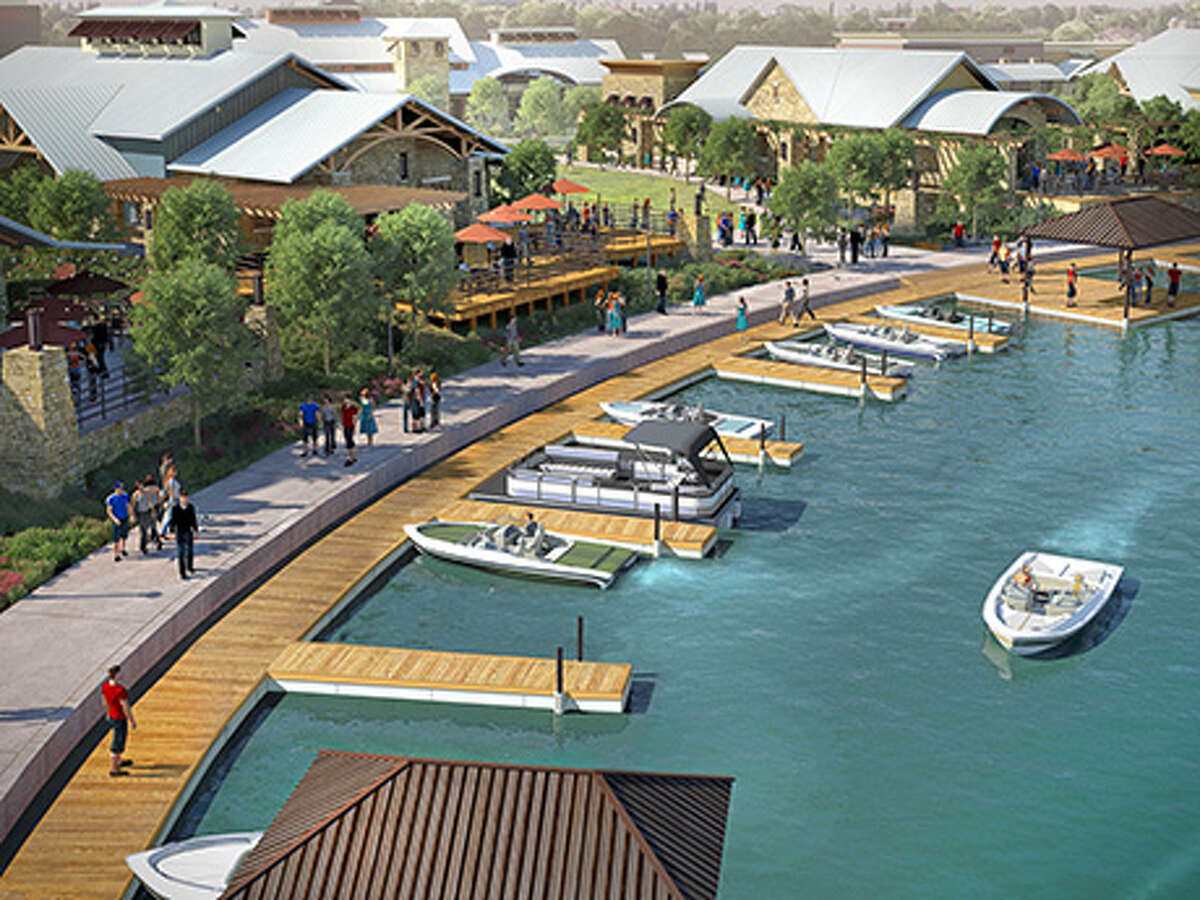 Residents boat to work, stores and different entertainment venues in a Boardwalk of Town Lake rendering.
