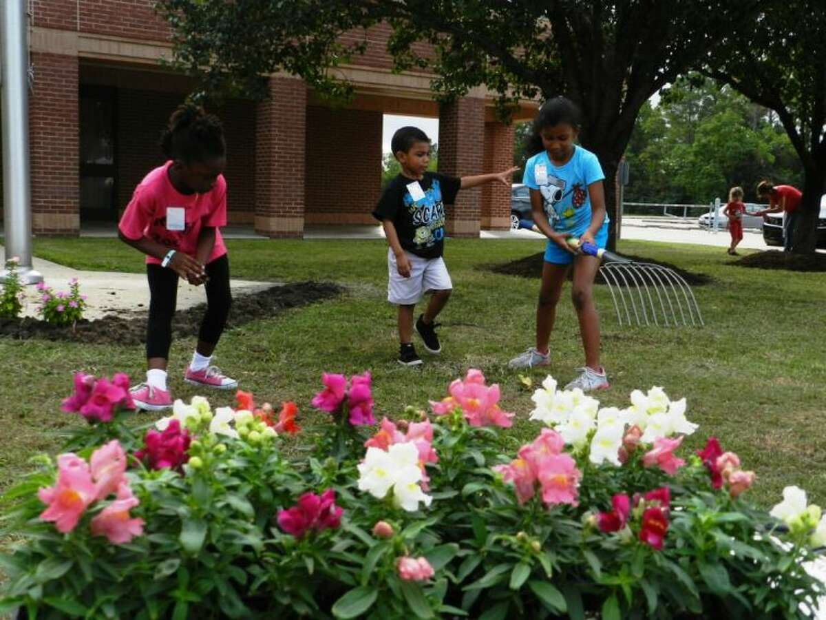 Students, community members and staff work together on Eiland beautification project.