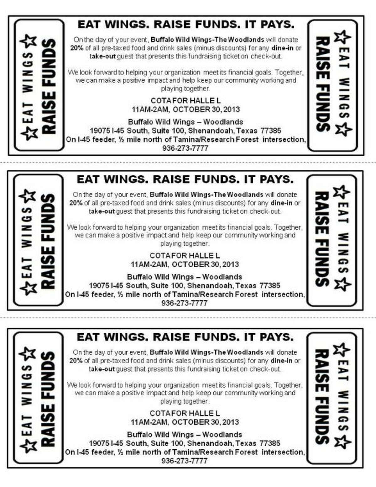 Cut, print or take a picture of this coupon to take to Buffalo Wild Wings in Shenandoah today.