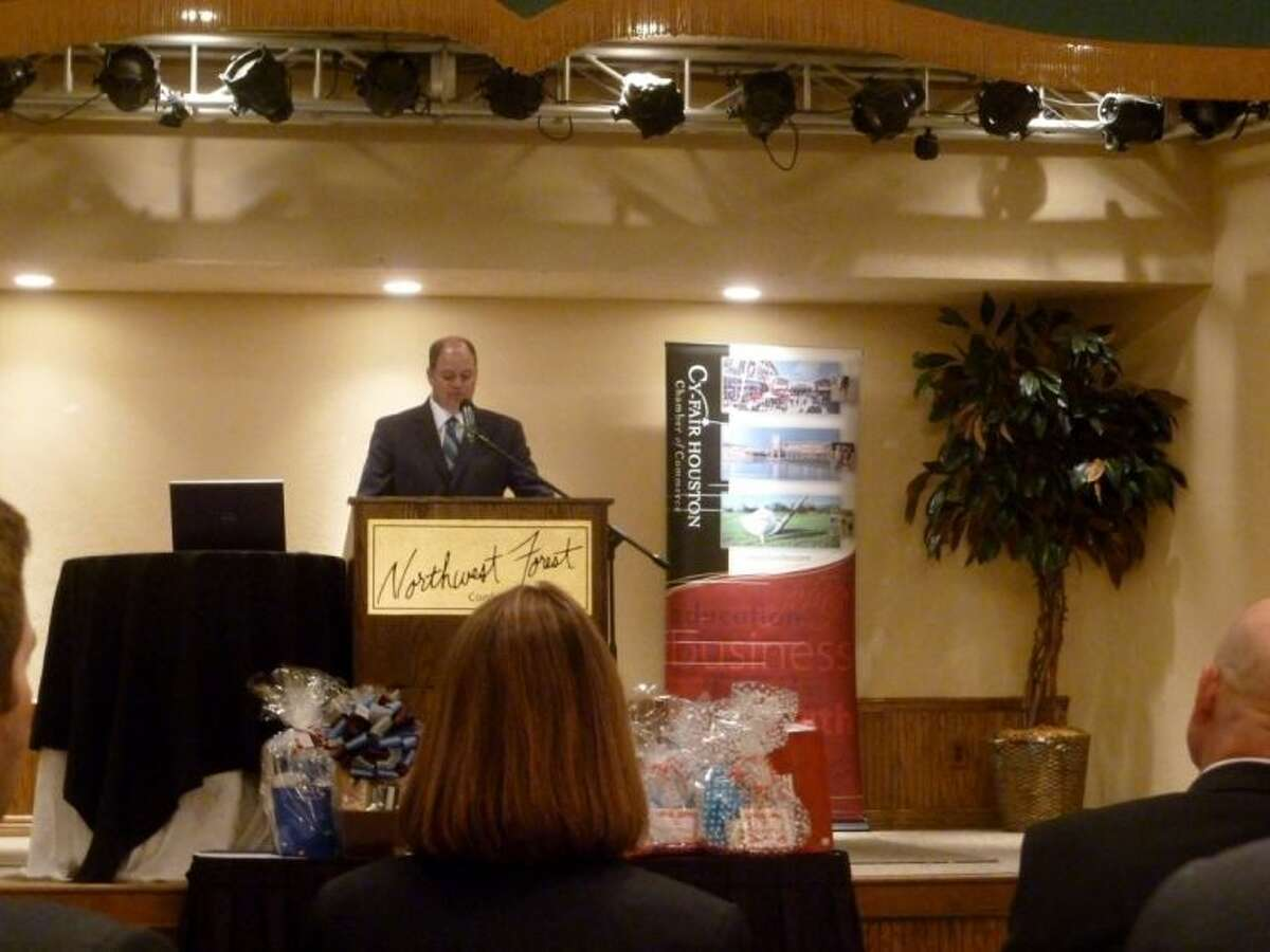 Superintendent Mark Henry delivers the state of the district address to Cy-Fair Houston Chamber members last week at Northwest Forest Conference Center.