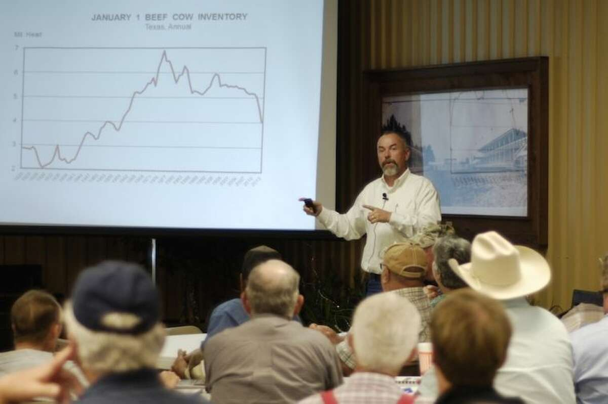 Dr. David Anderson from Texas A&M spoke at the Beef Symposium about current market conditions. In spite of drought and depressed prices, Anderson believes there are still good opportunities for ranchers.