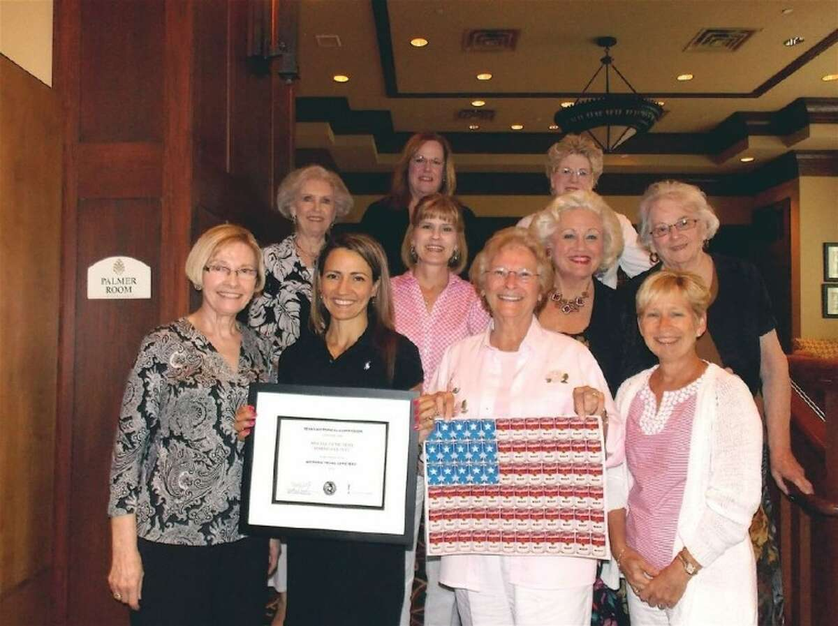 Pictured from left are the Heritage Trails DAR newly elected Officers: (Front) Shirley Elliott (Chaplain); Jennifer Breshears (Recording Secretary), who is holding a certificate from the Texas Historical Commission; Bev Pritchard (Regent), promoting DAR Schools; and Cherry Calender (First Vice Regent). Back row, L to R: Pat Williams (chapter Advisor and State committee chairman for the Chapter Achievement committee); Ronee Schneider (Second Vice Regent); Pat Spackey (Historian) State chairman, Texas Flag committee; Dottie Wainwright (Registrar, DAR Project Patriot advisor and Vice Chairman, District 5 Public Relations). Back row: Ann Jones (Treasurer) and Susan Garrison (Corresponding Secretary). Not pictured are Judy Welch (Librarian) and Pegi Ivancevich (parliamentarian).