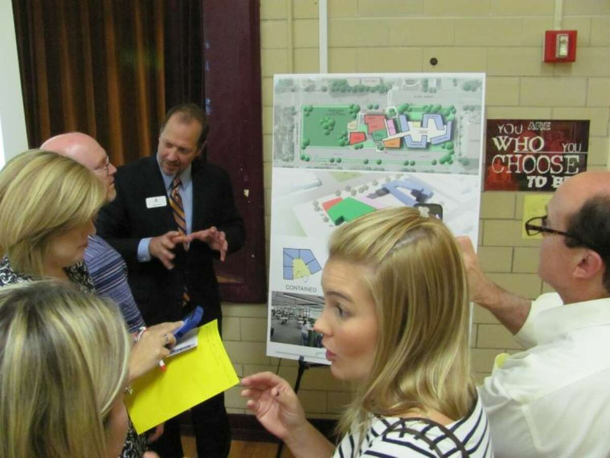 Todd Lien with VLK Architects explains design priorities for the new Condit Elementary School during a draft design meeting held Oct. 29 in Bellaire.