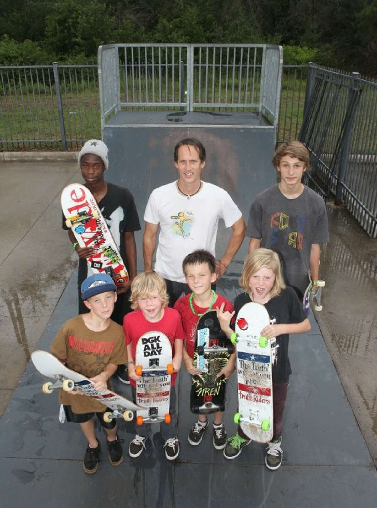 TruthRiders skate for a cause. (L to R front row) Jackson Hocutt, 8, Max Neely, 6, Ian Hocutt, 8, Hudson Neely, 9. ( L to R back row) Kevin Storm ,14, Skate Park Director John Hocutt, and Andrew Fryer,14.