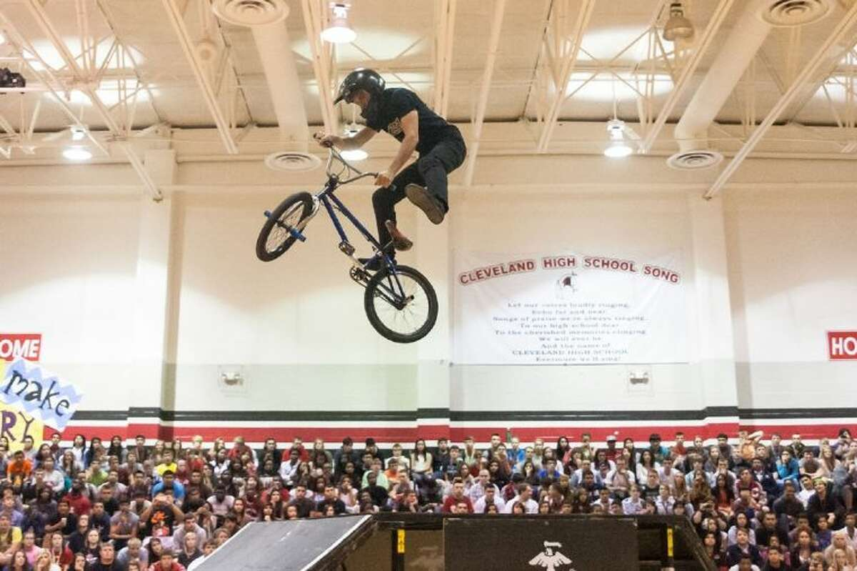 BMX Rider Jimmy Walker airs it out over the BMX ramp during the ASA High School Tour stop in Cleveland on Oct. 30.