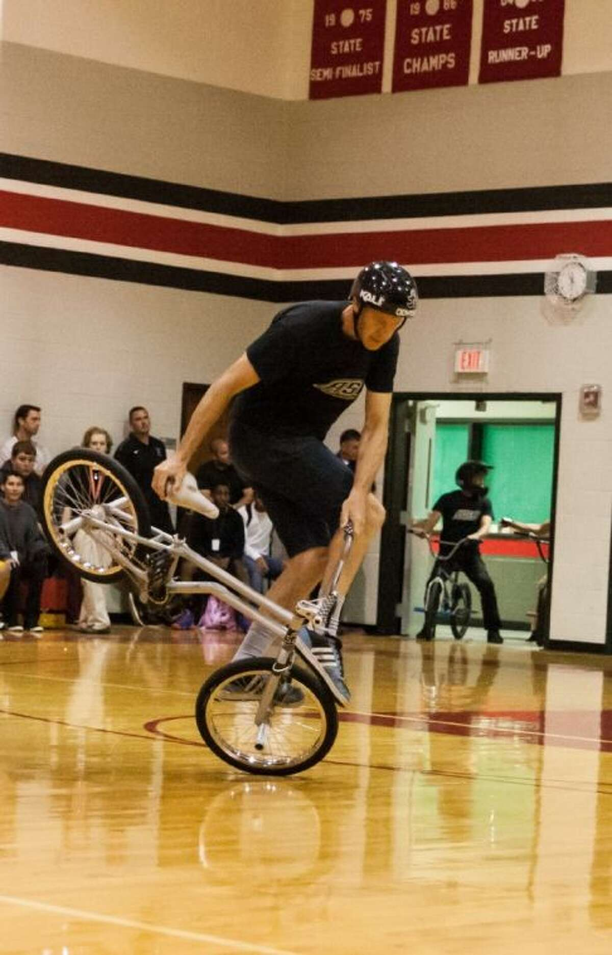 Trevor Meyer shows off his BMX street skills at the ASA High School Tour stop in Cleveland on Oct. 30, 2013.