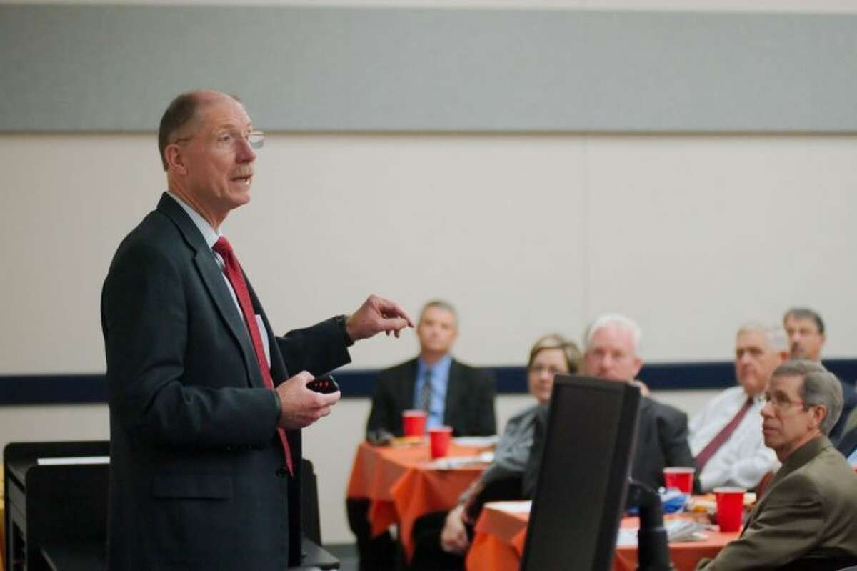 Raise Your Hand Texas CEO Dr. David Anthony speaks during a Raise Your Hand Texas education luncheon Wednesday, Oct. 30.