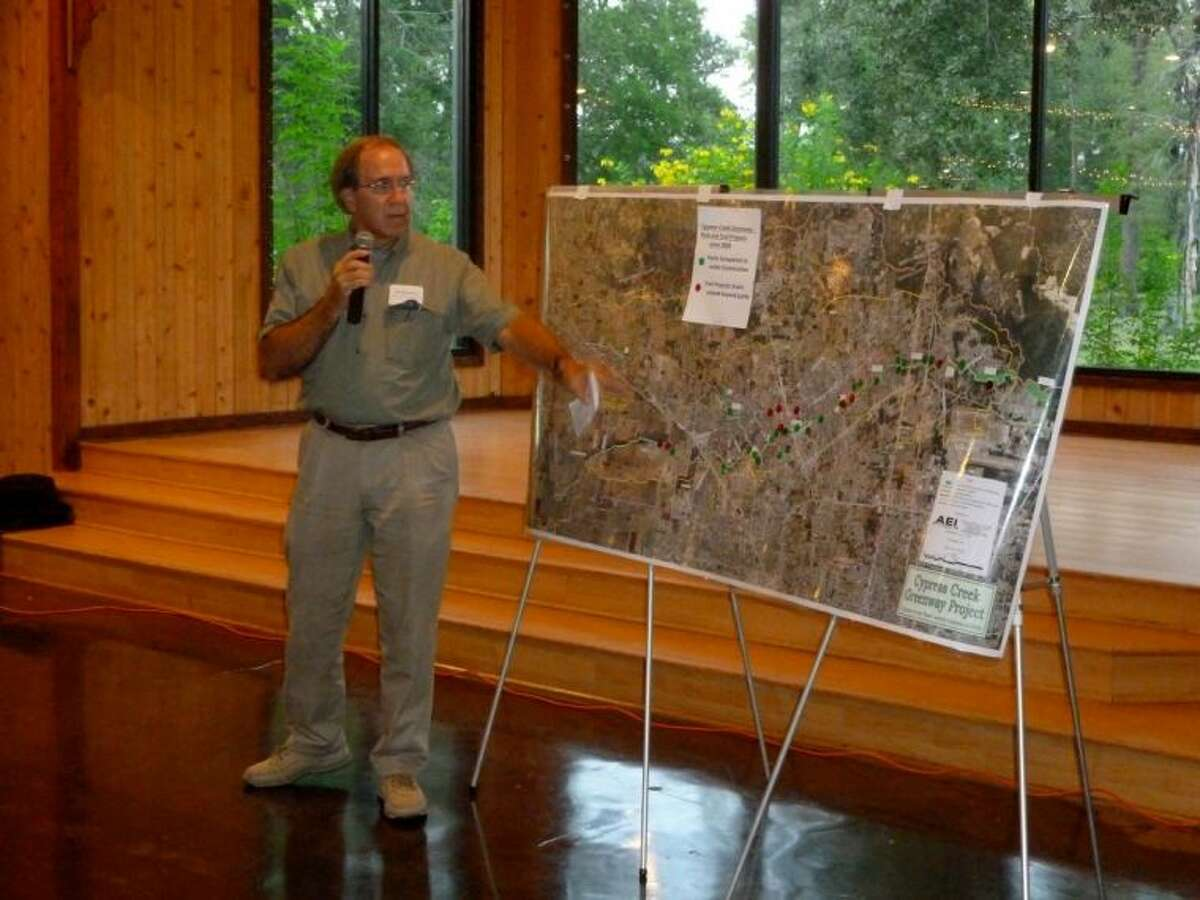Jim Robertson with the Cypress Creek Greenway project gives a presentation on the Cypress Creek Aug. 28 at Shirley Acres.