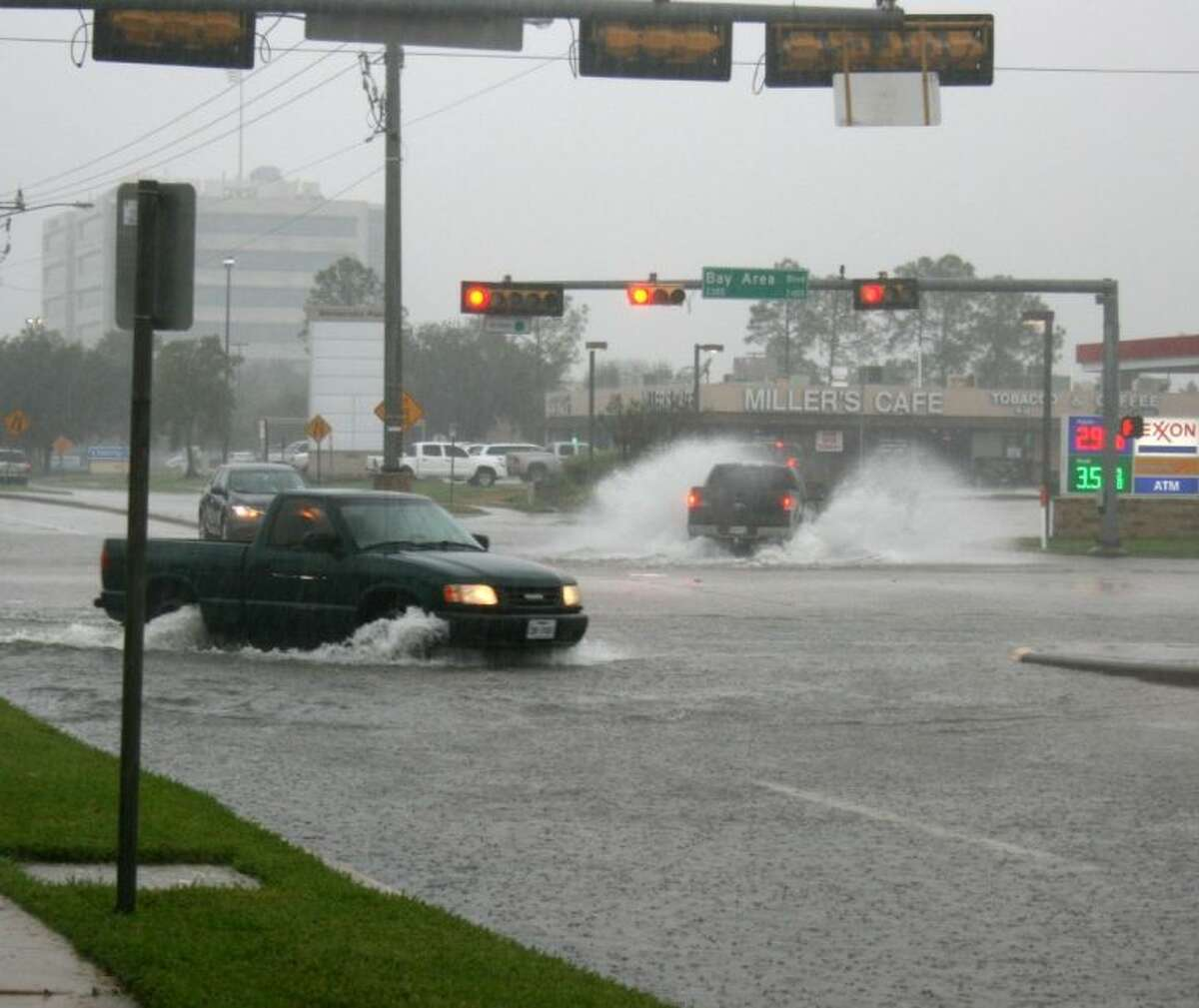There was street flooding on both sides of Space Center at the Bay Area intersection.