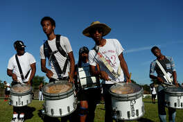 Central's marching band practices on Wednesday afternoon. The halftime show is a main attraction during the Soul Bowl rivalry between Ozen and Central.  Photo taken Wednesday 9/28/16 Ryan Pelham/The Enterprise