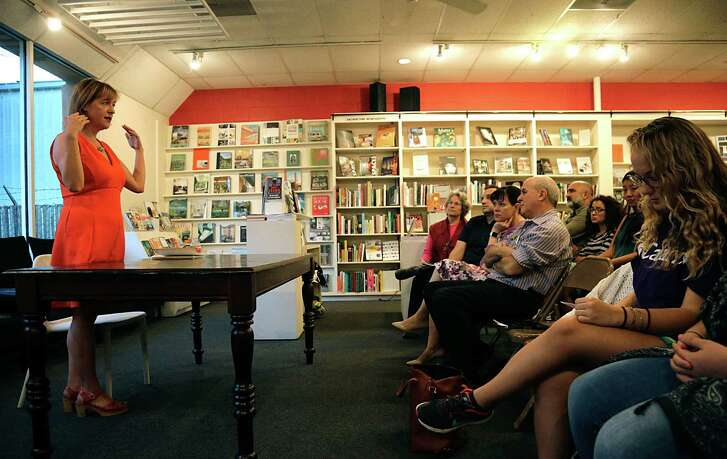 Poet Jennifer Grotz answers questions during an author's event in September at Brazos Bookstore.