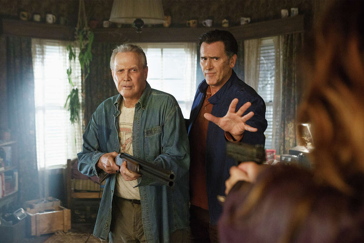 Lee Majors plays Brock Williams and Bruce Campbell is Ash Williams in the Starz tv series Ash vs. Evil Dead