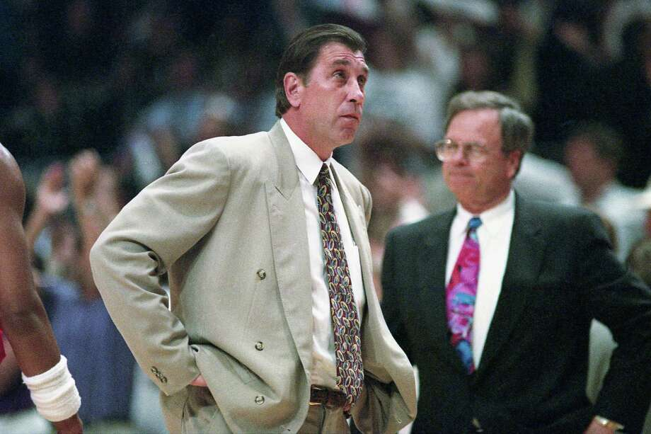 06/17/1994 - GAME 5 - Houston Rockets v New York Knicks. Rockets coach Rudy Tomjanovich and Carroll Dawson on the sideline in game 5 of the NBA Finals at Madison Square Garden. Photo: Kerwin Plevka, HC Staff / Houston Chronicle