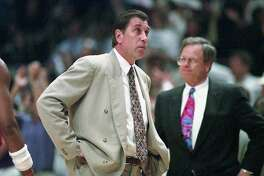 06/17/1994 - GAME 5 - Houston Rockets v New York Knicks. Rockets coach Rudy Tomjanovich and Carroll Dawson on the sideline in game 5 of the NBA Finals at Madison Square Garden.