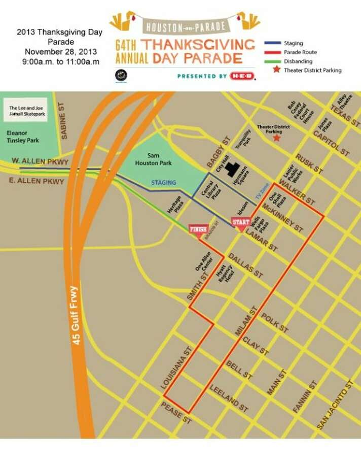 The route for the 64th Annual Thanksgiving Day Parade at 9 a.m. on Nov. 28 in downtown Houston.