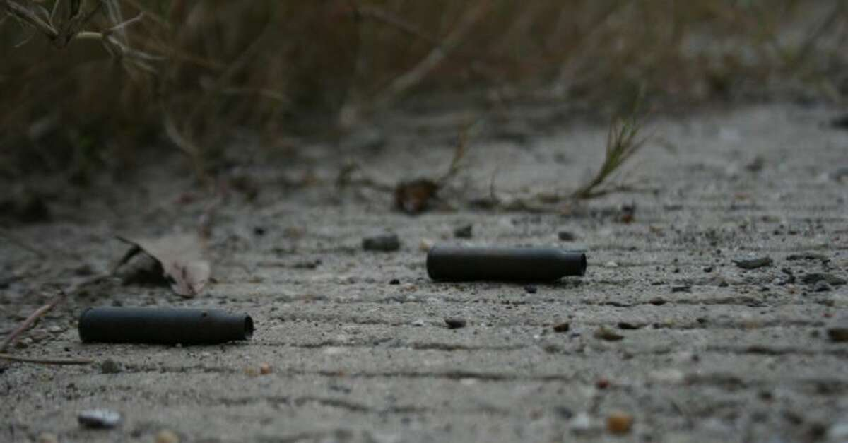 Rifle casings line the construction entrance road underneath the San Jacinto bridge outside of Crosby -- a known hotspot for animal cruelty.
