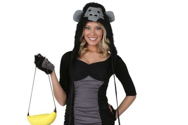 "A ""Sexy Gorilla Costume"" is going for $49-$54 on Amazon and comes complete with a banana purse, furry boots, and a hood of a gorilla's face."