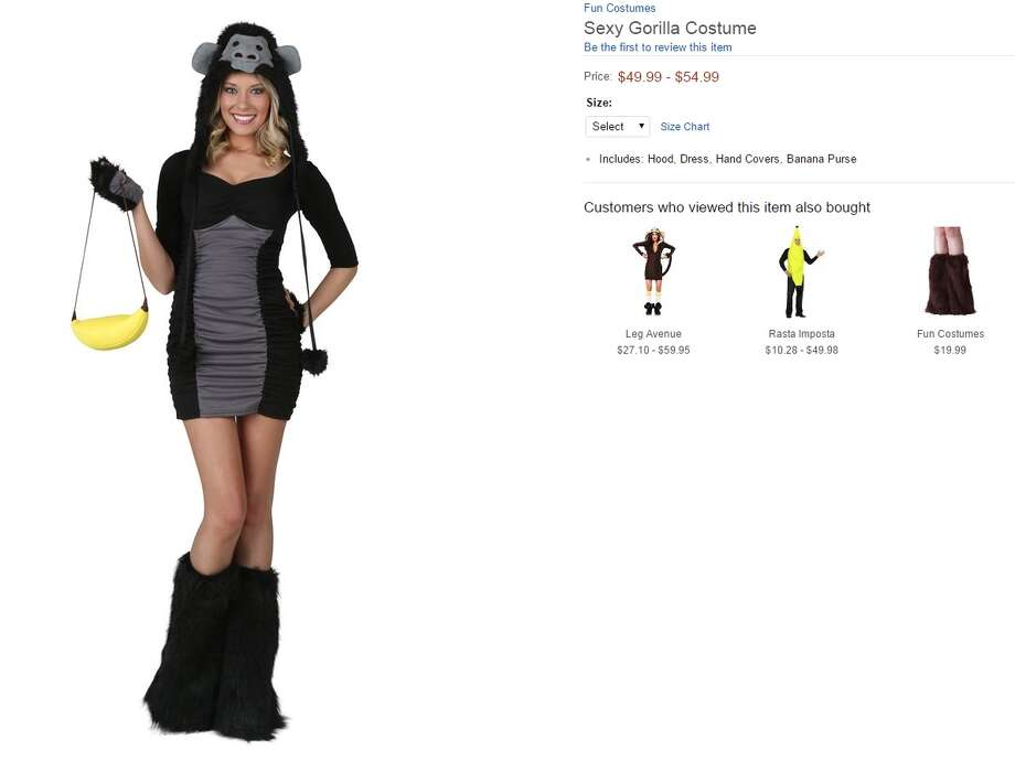 "A ""Sexy Gorilla Costume"" is going for $49-$54 on Amazon and comes complete with a banana purse, furry boots, and a hood of a gorilla's face. Photo: Courtesy/Amazon"