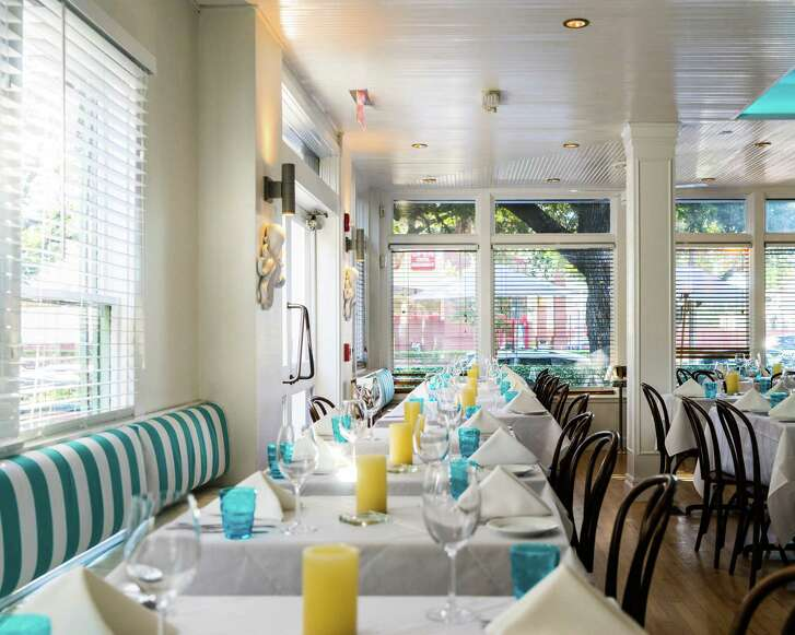 Cafe Azur is a new restaurant at 4315 Montrose in the former home of Brasserie Max & Julie. New chef/owner is Sidney Degaine. Shown: Interior.
