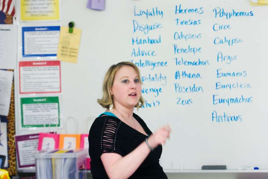 Danielle Waring, a ninth grade English teacher, has been named Stamford's teacher of the year.  She teaches a class at Westhill High Schoo on Thursday May 6, 2010 in Stamford, Conn. Photo: Kathleen O'Rourke / Stamford Advocate