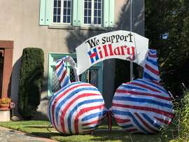Vallejo couple Thom and Honore McIlhatten are showing their support for Democratic presidential nominee Hillary Clinton with a giant bra-shaped art piece in their front yard.