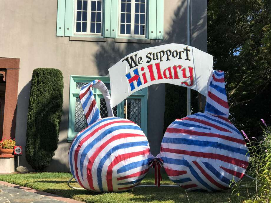 Vallejo couple Thom and Honore McIlhatten are showing their support for Democratic presidential nominee Hillary Clinton with a giant bra-shaped art piece in their front yard.  Photo: Chris Preovolos
