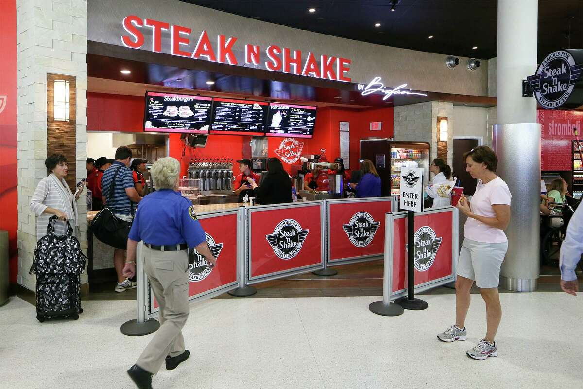 Steak n Shake is transitioning its dine-in locations to counter service, drive-thru and and drive-in operations. Pictured is the Steak n Shake at San Antonio International Airport.