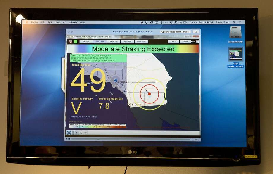 The state Office of Emergency Services warned Friday, Sept. 30, 2016, of a slightly elevated chance of a statewide earthquake following a series of small quakes in Southern California. Meanwhile, an earthquake early warning system, currently under development and displayed on a television monitor, is in the state's future. Gov. Jerry Brown has signed legislation to develop a statewide earthquake early warning system in California, after devoting $10 million to the program in the state budget he signed this year.(AP Photo/Rich Pedroncelli) Photo: Rich Pedroncelli, Associated Press